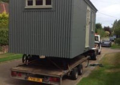 Delivering a hut