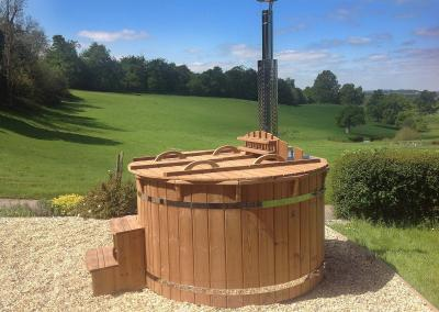 Hot tub in the sunny open countryside